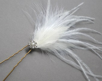 Ostrich Feather Bridal Hair Pin Fascinator.  Bridal Shower Gift. Bride Maid Hair Pins. Shower Gift. Modern Bride. Feathered Hair Pin.