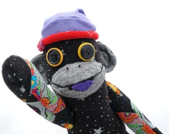Sock Monkey Stuffed Animal Posable Toy - Upcycled Recycled Repurposed Handmade Boy Gift - Cosmo in Black and Purple with Hearts Moon Stars