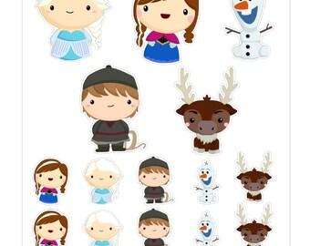Kawaii Frozen Characters Stickers // KC006