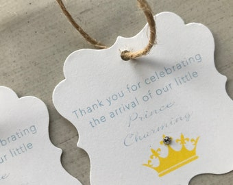 Prince Charming | Baby Boy | Crown Baby Shower Favor Tags