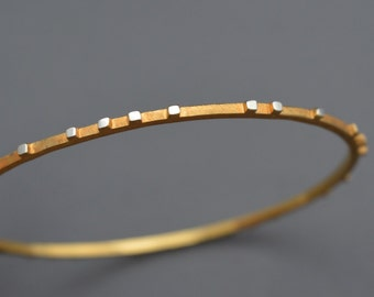 Thin Off-Set Raised Striped Bangle / Modern / Genuine 24k Gold Plated On Sterling Silver / Wear With Other Bangles to Stack and Layer Look