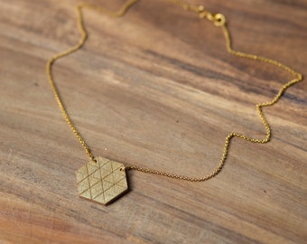 "Necklace chain ""hexagon graphic gold"" by dearest sister"