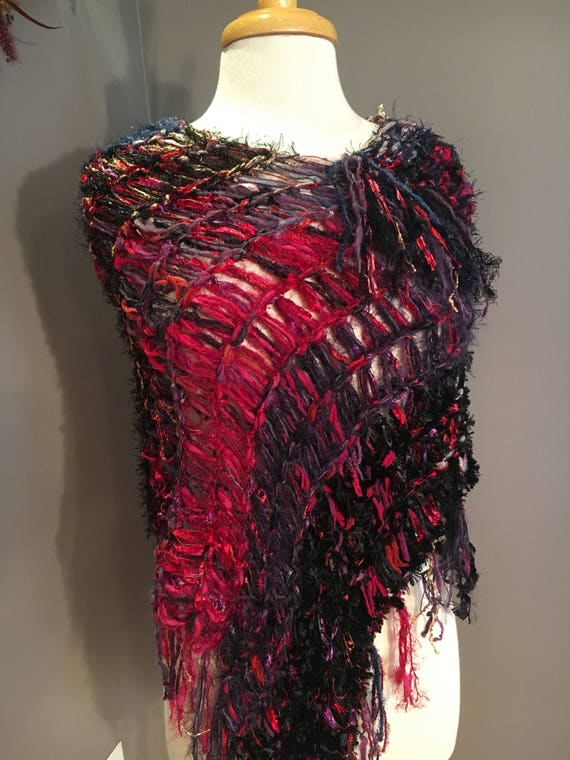 Handmade Knit poncho, Fringed Poncho Rebel Grace.  Fringed Knit Poncho, boho wrap, art poncho, Black Red Purple, wearable art, bohemian