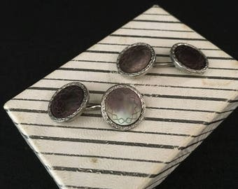 Vintage Swank Cuff Links Silver Tone with Mother of Pearl