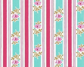 Poodle Siobhan stripe pink/aqua Jennifer Paganelli  Free Spirit fabric FQ or more