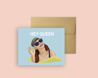 Hey Queen- Rihanna Card (Greeting Card, Celebrity Pop Culture Card, Pop Culture Birthday Card, Card for All Occasions)