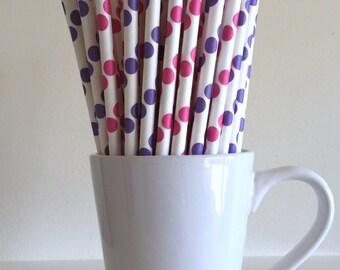 Dark Pink and Purple Polka Dot Paper Straws Party Supplies Party Decor Bar Cart Cake Pop Sticks Mason Jar Straws  Graduation