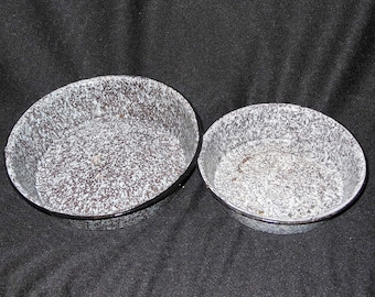 Antique Two Graniteware Brown and white Bowls or Casserole Dishes