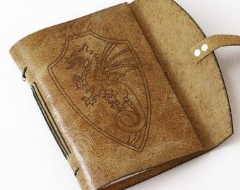 Dragon  journal. personalized journal. lined paper.  Antique leather journal. Dragon journal. Small leather journal. Travel journal.