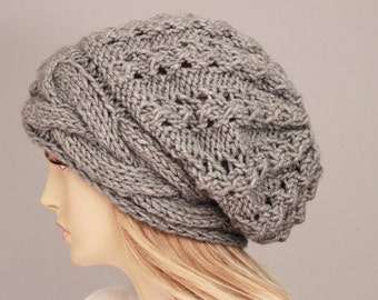Slouchy beanie  oversized beanie hat winter knit hat for woman in Grey -COLOR OPTION  AVAILABLE
