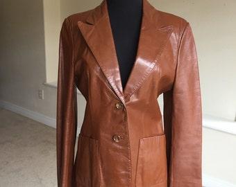Brown Leather Modern Blazer Jacket 1970