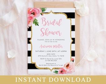Pink Floral Bridal Shower Invitation Template, Kate Bridal Shower Invite Printable, DIY Editable Invitation, Striped Bridal Shower Templett