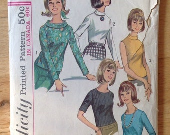 Vintage Simplicity 6138 Blouses in 5 versions size 12