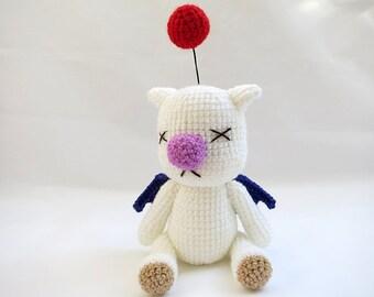 Crochet PATTERN PDF - Amigurumi Final Fantasy X Moogle Doll - moogle plush amigurumi pattern, final fantasy crochet tutorial, moogle pattern
