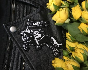Black Unicorn Patch / Fuck Off / Dark Goth Punk Witch Riot Girl / Embroidered Iron on Patch