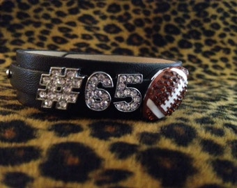 Rhinestone Football TWO number Personalized Jersey Number Black Bracelet MOM Sports Charm