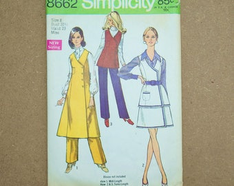 60s Vintage Simplicity Paper Sewing Pattern 8662 Misses' Midi-Jumper, Tunic, Front-wrap Skirt And Pants Size 8
