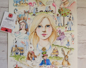 Alice in Wonderland, Alice art, Fantasy art, fantasy illustration, gift for her, gift idea, Alice illustration, Mad Hatter, Cheshire Cat