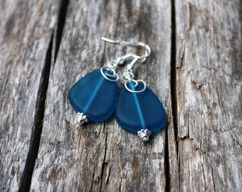 Teal Sea Glass Earrings Seaglass Earrings Sea Glass Jewelry Beach Glass Earrings Beach Glass Jewelry Beach Jewelry Seaglass Jewelry Maui 080