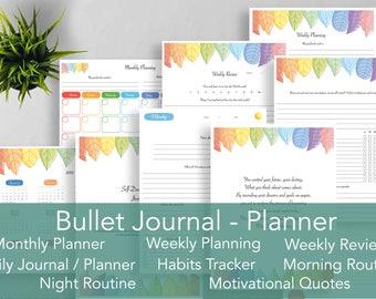 Bullet Journal, Planner, Self-development journal, Monthly Planner, Weekly Planner, Weekly Review, Daily Journal, Daily Planner