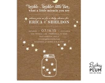 Star Baby Shower Invitation / Twinkle Twinkle Little Star Invitation / Rustic Baby Shower  Invitation / Couples Baby Shower Invitation