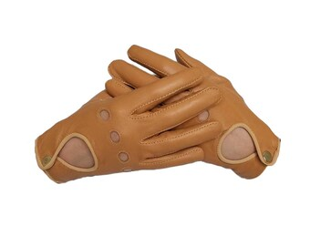 Women's Driving Leather Gloves - Tan Sheepskin Gloves for driving