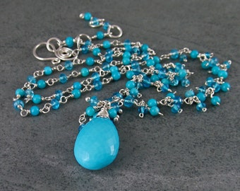 Turquoise necklace with apatite, handmade sterling silver necklace-OOAK December birthstone