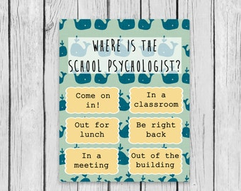 Where is the School Psychologist Nautical Whales Counselor Speech Therapist Modern Guidance Privacy Door Clip Lunch Bunch Group Counseling