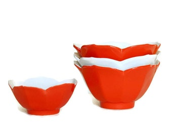 Vintage Lotus Bowls, Rice Bowl Set, Red White Ceramic, Dessert Dishes, Made in Japan