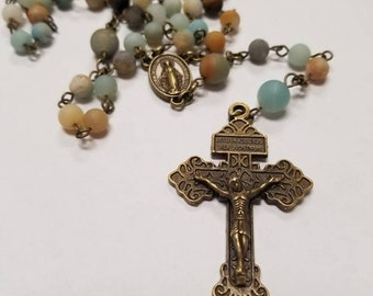 Handcrafted rosary with Miraculous Medal and Pardon Crucifix