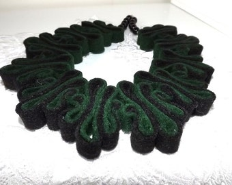 Felt Necklace, Statement Necklace, Eco Recycled, Dark Green, Black Bead Necklace, Felt Jewelry, Felted