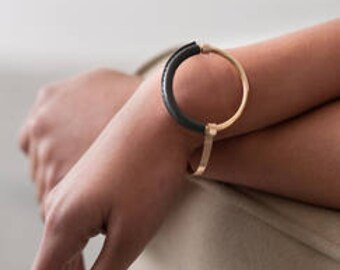 Gold Bangle With Charcoal Leather Accent