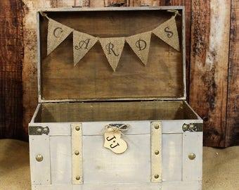 Wedding Card Box, Shabby Chic Card Box, Wedding Receptin, Shabby Chic Wedding, Ivory/Gray Card Box, Wooden Card Box, Rustic Weddding