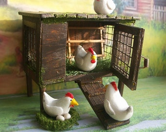 Coop for a doll house. Сhicken coop. Handcrafted miniature. For doll House Scale 1:12