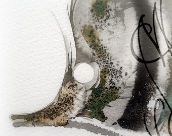 "Martinefa's Original watercolor and Ink, presented in hand personalised frame -  ""Fish"""