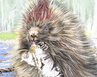 Beaver  Art - Porcupine Artwork  -  Woodland animals print -  Cabin decor - Birch tree - Lunch - swamp painting