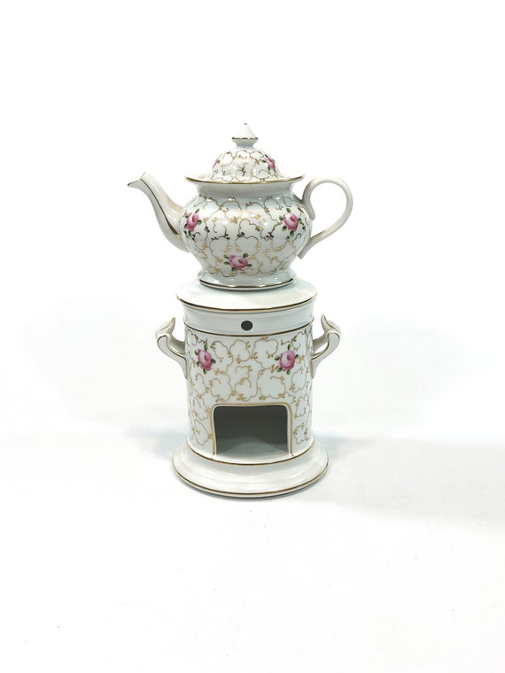 French Teapot & Stand, Veilleuse Theieres Tisianes, Side Handles, Pink Roses Gold Trellis Motif, French Country, Antique Porcelain China