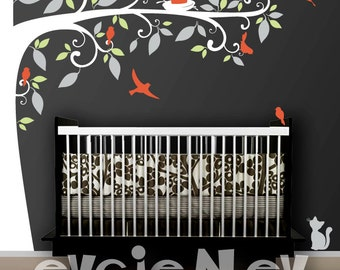 Birds Tree Nursery Wall Decal - Large Side Tree with Birds and Nest- Perfect Tree Design for Picture Frames - TRFRM020