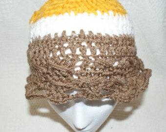 Girls Crochet Hat, Gold Cloche, Floppy Hat, Brown Bucket Hat, Childs Winter Cap, Autumn Hat, winter hat for girls, Trendy Hat, Spring