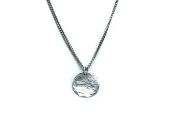 Titanium Necklace Small Disc, Niobium Circle Disk Necklace, Modern Hypoallergenic Niobium and Titanium Necklace for Sensitive Skin