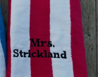 Magenta Striped Personalized Beach Towel, Monogrammed Towel, Pool Party Favor, Bridesmaids Gift, Graduation GIft, Wedding Party Favor