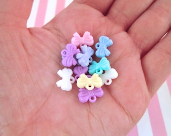 Pastel Fairy Kei Bow Charms, Pick Your amount, j175