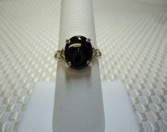 Cabochon Oval Black Onyx Ring in Sterling Silver   #1264