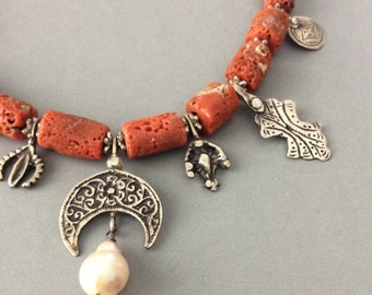 Exquisite Trade Route Necklace. Morroccan Silver & Italian Coral Chunks, one-of-a-kind artisan design by Bianca