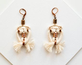 Wedding Earrings, Boho Bride Earrings, White Earrings, Tassel Earrings, Rope Earrings, Bridesmaid Earrings, Wedding Jewelry for Brides