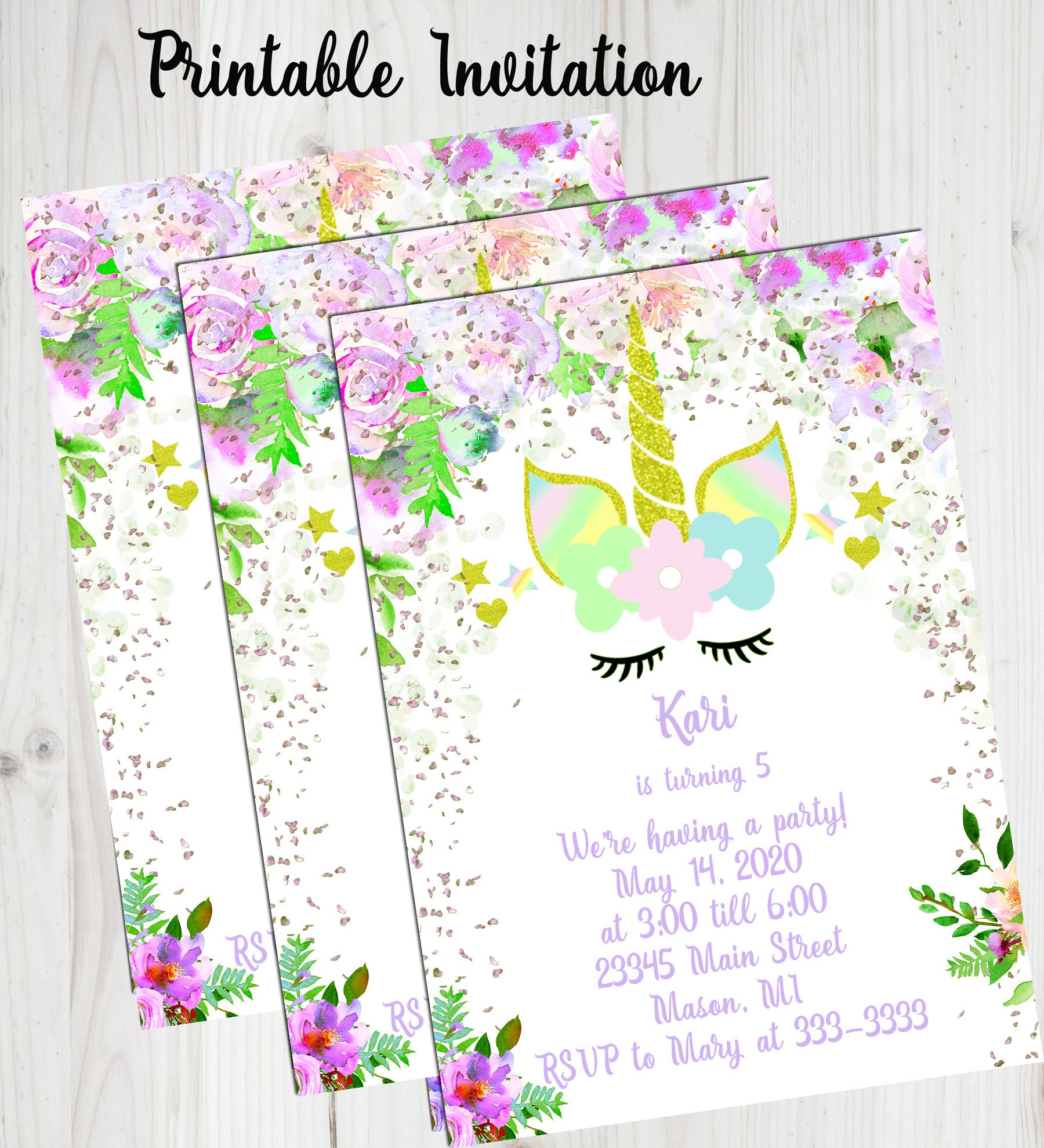 Unicorn birthday invitation party invite for girls rainbow request a custom order and have something made just for you izmirmasajfo