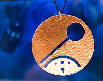 Run! in Circular Gallifreyan Doctor Who Handmade Copper Whovian Pendant