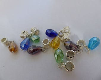 Dangle type European brass and glass drops