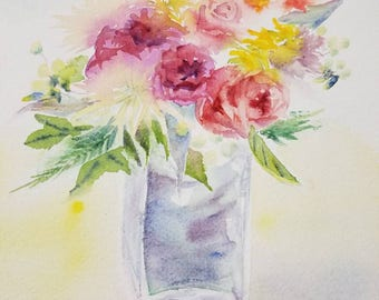 Original watercolor painting - SUNNY BOUQUET