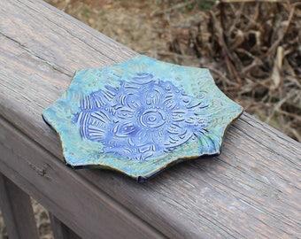 Patterned Star Ceramic Plate - blue/green
